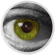 The Minds Eye Black And White Round Beach Towel