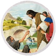The Miracles Of Jesus  Making The Lame Man Walk Round Beach Towel