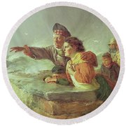 The Missing Boat, C.1876 Round Beach Towel