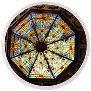 The Mission Inn Looking Up Round Beach Towel