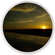 The Missouri River At Sunset South Of Culbertson Mt  Round Beach Towel