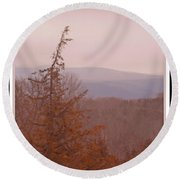 The Misty Mountains On A Misty Day Round Beach Towel