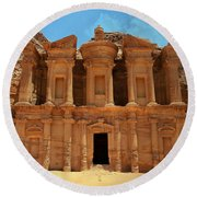 The Monastery At Petra Round Beach Towel