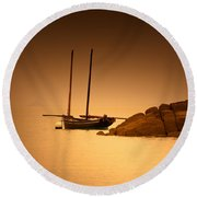 The Mont Saint-michel Bay At Sunset Round Beach Towel