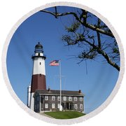 The Montauk Point Lighthouse Round Beach Towel