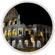 The Moon Above The Colosseum No1 Round Beach Towel