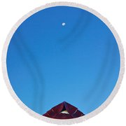 The Moon The Roof And The Sky Round Beach Towel
