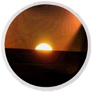 The Morning Light Show Round Beach Towel