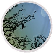The Morning Moon Round Beach Towel