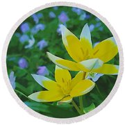 The Most Beautiful Flowers Round Beach Towel