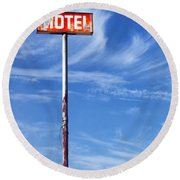 The Motel Palm Springs Desert Hot Springs Round Beach Towel