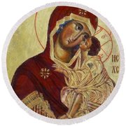 The Mother Of God -the Don Icon Round Beach Towel