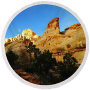 The Mountains Of Capital Reef   Round Beach Towel