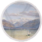 The Mountains Of St Gingolph Round Beach Towel