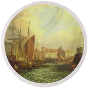 The Mouth Of The Yare, 1821 Round Beach Towel