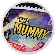 The Mummy Postage Stamp Print Round Beach Towel