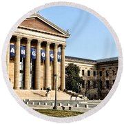 The Museum Of Art In Philadelphia Round Beach Towel