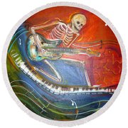 The Music Must Go On Round Beach Towel