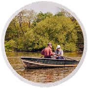 The Music Never Ends - Central Park Pond - Nyc Round Beach Towel
