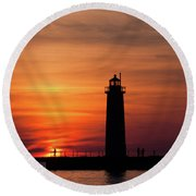 The Muskegon Lighthouse An A Lone Man Fishing Round Beach Towel