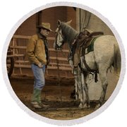 The Mustang Whisperer Round Beach Towel