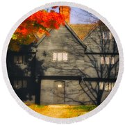 The Mysterious Witch House Of Salem Round Beach Towel