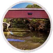 The Narrows Covered Bridge 1 Round Beach Towel