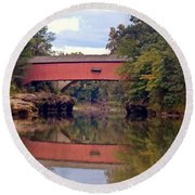 The Narrows Covered Bridge 4 Round Beach Towel