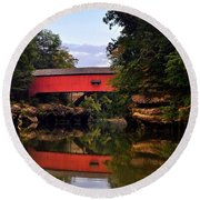 The Narrows Covered Bridge 5 Round Beach Towel by Marty Koch
