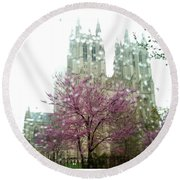 The National Cathedral  Round Beach Towel