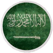 The National Flag Of  Kingdom Of Saudi Arabia  Vintage Version Round Beach Towel