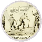 The National Game - Abraham Lincoln Plays Baseball Round Beach Towel