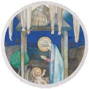 The Nativity Round Beach Towel by Edward Reginald Frampton