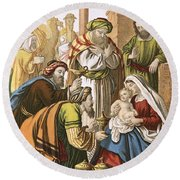 The Nativity Round Beach Towel by English School