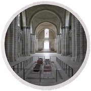 The Nave With Tombs Fontevraud Abbey Round Beach Towel