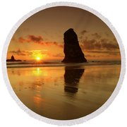 The Needles At Haystack - Cannon Beach Sunset  Round Beach Towel