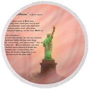 The New Colossus Round Beach Towel