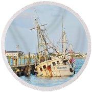 The New Hope Sunken Ship - Ocean City Maryland Round Beach Towel