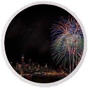 The New York City Skyline Sparkles Round Beach Towel by Susan Candelario