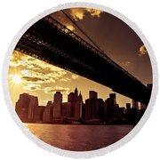 The New York City Skyline - Sunset Round Beach Towel