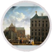 The Nieuwe Kerk And The Rear Of The Town Hall In Amsterdam  Round Beach Towel