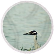 The Night Heron Round Beach Towel