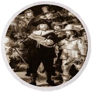 The Night Watch By Rembrandt Round Beach Towel