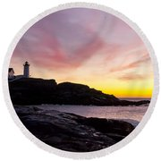 The Nubble Round Beach Towel by Steven Ralser