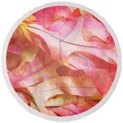 The Oak Leaf Pile Round Beach Towel