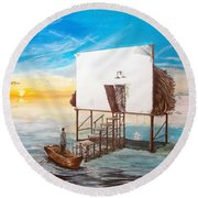 The Occult Listen With Music Of The Description Box Round Beach Towel by Lazaro Hurtado