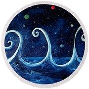 The Ocean, The Moon And The Stars Round Beach Towel
