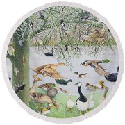 The Odd Duck Acrylic On Canvas Round Beach Towel