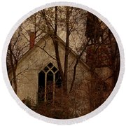 The Old Abandoned Church Round Beach Towel