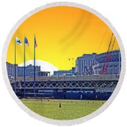 The Old And New Yankee Stadiums Side By Side At Sunset Round Beach Towel